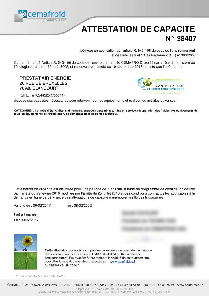 Qualifications - Capacité - Prestatairenergie
